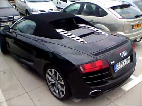 Audi R8 Spyder V10 black - Start Up, hard Rev, acceleration