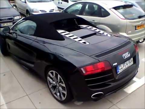 Audi R8 Spyder V10 black - Start Up, hard Rev, acceleration