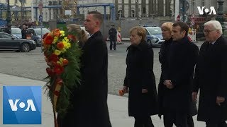 Merkel & Macron attend WW1 remembrance wreath-laying in Berlin - VOAVIDEO