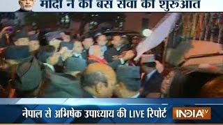 SAARC Live: PM Modi flags off maiden journey of Kathmandu-Delhi bus service - INDIATV