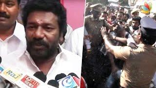 Nadigar Sangam Violent clash between Sarthakumar and Vishal supporters, Karunas Car Glass broken
