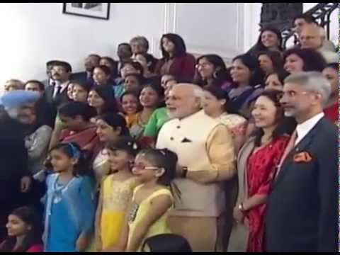 PM Modi interacting with children & officials at Indian Embassy in Washington