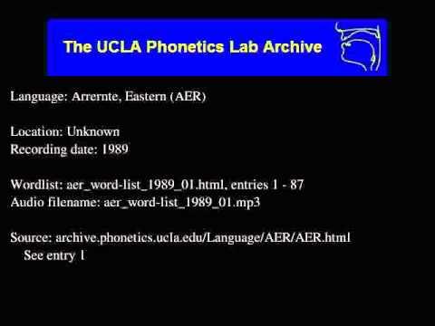 Arrernte, Eastern audio: aer_word-list_1989_01