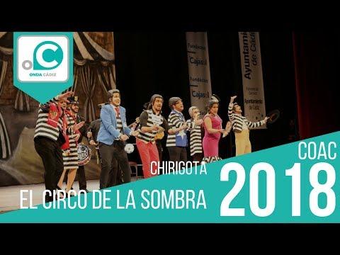 La agrupación El circo de la sombra llega al COAC 2018 en la modalidad de Chirigotas. En años anteriores (2017) concursaron en el Teatro Falla como Los machos ibéricos, consiguiendo una clasificación en el concurso de Preliminares.