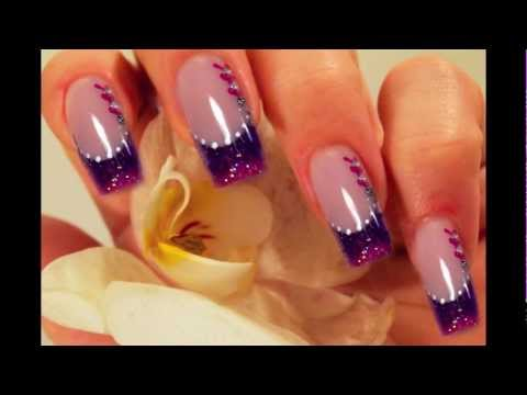 Step by Step - pink & lila / purple Nail Art Design mit Acryl
