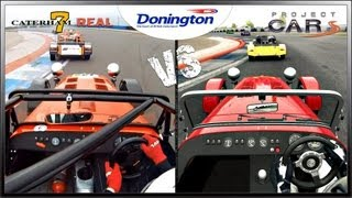 Project CARS vs Real Life - Caterham 7 (Race) @ Donington Park