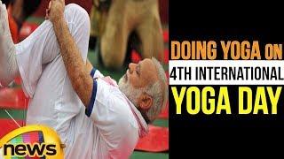 PM Modi Doing Yoga on 4th International Yoga Day Celebrations in Dehradun | Mango News - MANGONEWS