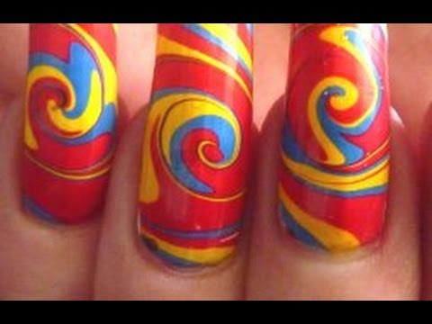 Psychedelic Summer Swirl Water Marble Nail Art Design Tutorial Technique HD Video