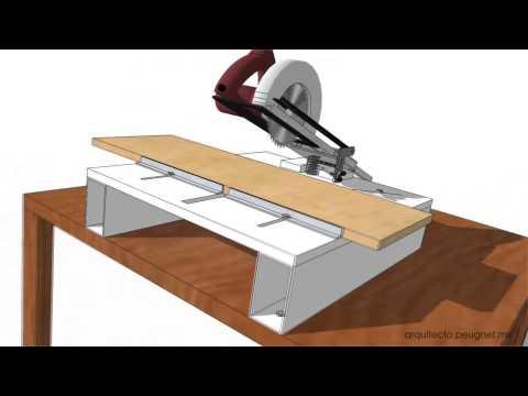 Adaptación de sierra circular para uso como sierra angular deslizable.