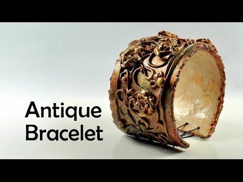 Винтажный браслет, украшение из полимерной глины, видео