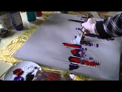 Acrylmalerei abstract acrylic painting Demo Abstraktes Bild malen /spachteln -spackle