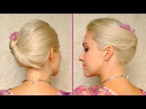 Side swept Gibson tuck/roll updo for work/office - French twist alternative for medium long hair