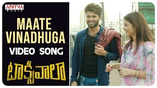 Maate Vinadhuga Video Song || Taxiwaala  Video Songs || Vijay Deverakonda, Priyanka || Sid Sriram - ADITYAMUSIC