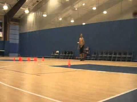 Basketball cone dribbling drill
