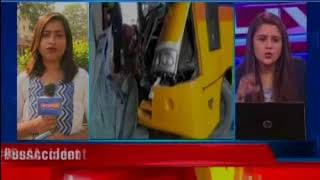 School Bus Accident: Bus rams into underpass wall in Noida Sec 16 - NEWSXLIVE