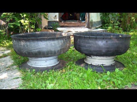 Клумба - вазон из старых шин