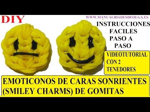 EMOTICONOS. COMO HACER UNA CARA SONRIENTE DE GOMITAS (SMILEY CHARMS) CON DOS TENEDORES. TUTORIAL DIY