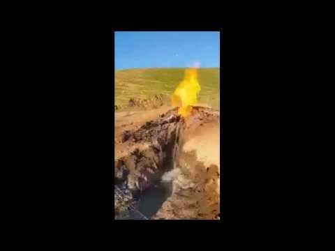 سبحان الله عين يخرج منها نار وماء ,, Fire and water