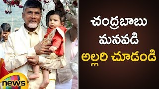 AP CM Chandrababu Naidu Plays With His Grandson Devansh | Chandrababu Naidu Grandson Latest Video - MANGONEWS