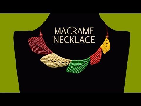 Multicolored Macramé Leaf Necklace - Tutorial