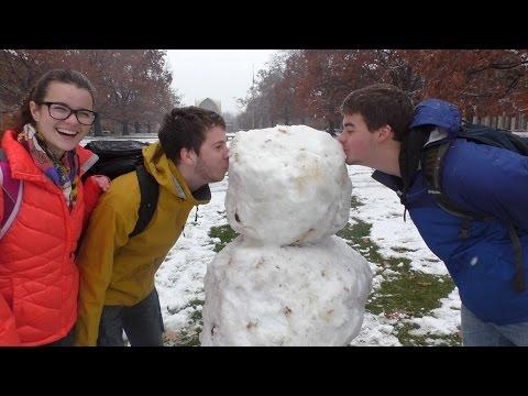 First Snowfall, First Snowman!