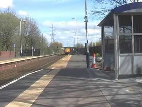 DRS 37604 and 37405 through Blaydon with Nuclear Flasks 11th April 2014