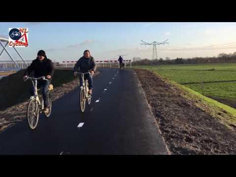 Bike ride on the new bicycle bridge near Berlicum (NL)