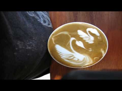 can i have that take away mister barista haha mixed latte art