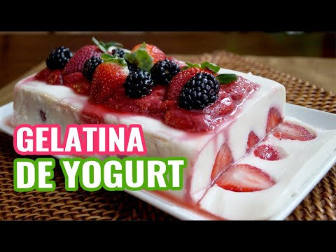 Gelatina de Yogurt con Salsa de Fresas ♥ Yogurt Jello with Strawberry Jelly ♥ DIY Día de la Madre