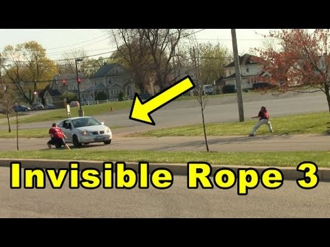 Funny Pranks : Invisible Rope Prank cloned