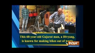 Watch: This 60-Year-Old Gujarat Man, A Divyang, Is Known For Making Bikes Out Of Waste - INDIATV