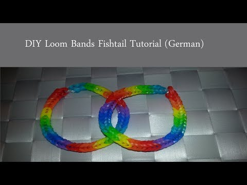 Loom Bands Regenbogen Fischgräten Armband D.I.Y (German) /  Rainbow Fishtail