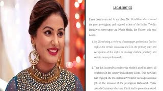 Hina Khan serves legal notice to the jewellery brand - TIMESOFINDIACHANNEL