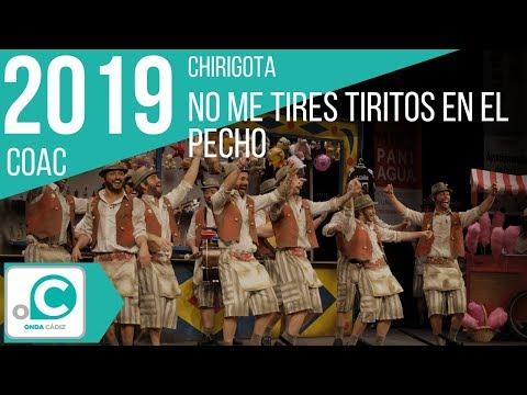 La agrupación No me tires tiritos en el pecho llega al COAC 2019 en la modalidad de Chirigotas. En años anteriores (2018) concursaron en el Teatro Falla como Este año ya nos despedimos, consiguiendo una clasificación en el concurso de Cuartos de final.