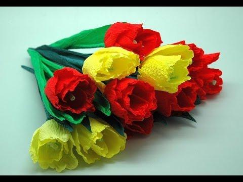 Kwiaty z bibuły - tulipany.  Crepe paper flowers-Tulips DIY