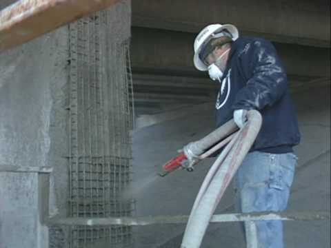 Bridge Repair, Gunite, Shotcrete, Concrete Repair, Cyclone Gunite Machine Demonstration