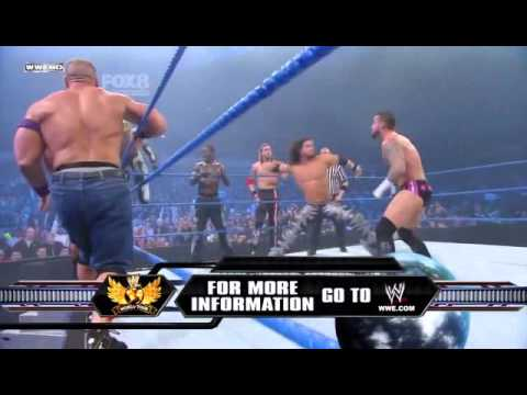 Smackdown 2/18/11 !12 Man Tag Match Mysterio,Cena&more vs King Sheamus, Barret & Co HQ