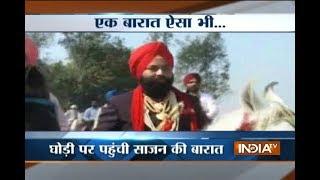 Gurdaspur: Groom, relatives go on horse to bride's house - INDIATV