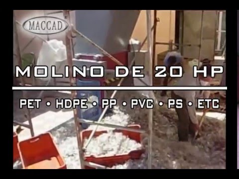 Molino para PET reciclaje de plásticos ( PET, HDPE, PP, ABS, ETC... )