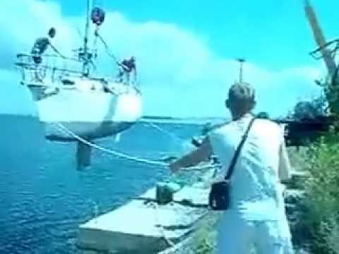 How not to lower a boat into the water