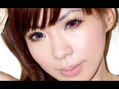 Gyaru look with Candy Doll *how to make natural lashes like false lashes*