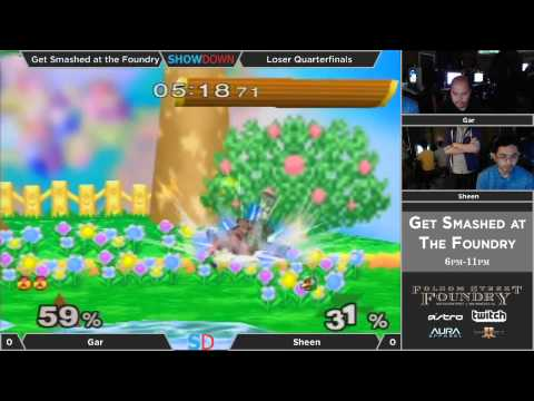 Get Smashed at the Foundry #4 - Losers: Quarterfinals - gaR (Sheik) vs Sheen (Falco)
