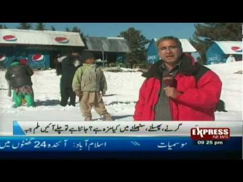 swat tourists enjoy snowfall in malam jabba swat valley pakistan