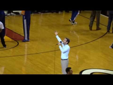 Jacob Bichachi sings the American National Anthem for the Miami Heat