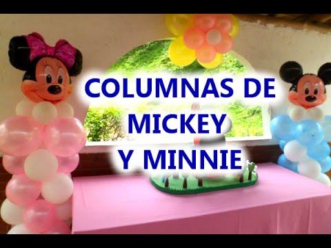 Realiza unas bellas Columnas de GLOBOS con motivo de Mickey y Minnie