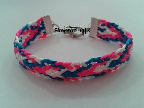 DIY: Pulsera Kumihimo plana ☮Kumihimo bracelet (easy)