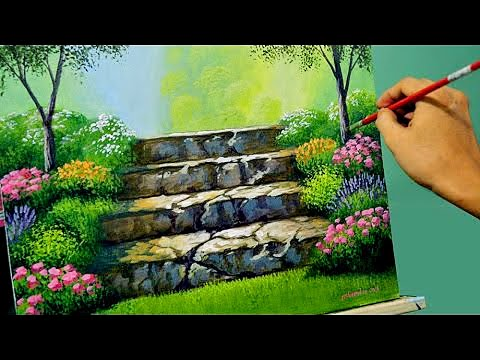Acrylic Landscape Painting Lesson - Stairway to Flower Garden by JMLisondra