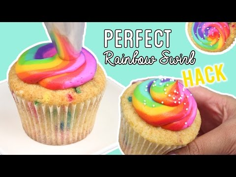 How to Pipe PERFECT RAINBOW Cupcakes with PLASTIC WRAP (+Funfetti Cupcake Recipe)!