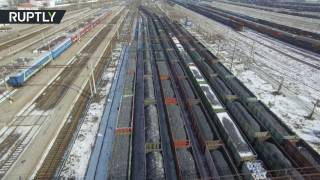 Drone captures endless lines of coal cars held up by blockade of rebel E. Ukraine - RUSSIATODAY