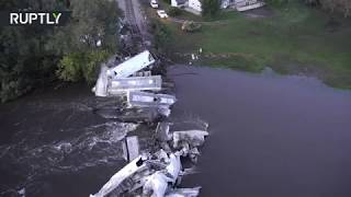 Freight train plummeted into Floyd river after bridge collapse in Iowa - RUSSIATODAY